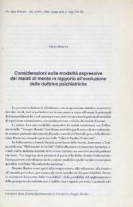 Piero Benassi – Considerazioni sulle modalità espressive dei malati di mente in rapporto all'evoluzione delle dottrine psichiatriche.